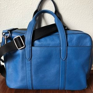 Coach Hamilton blue pebbled leather messenger bag